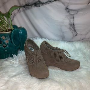 Grey Laced Wedged Booties